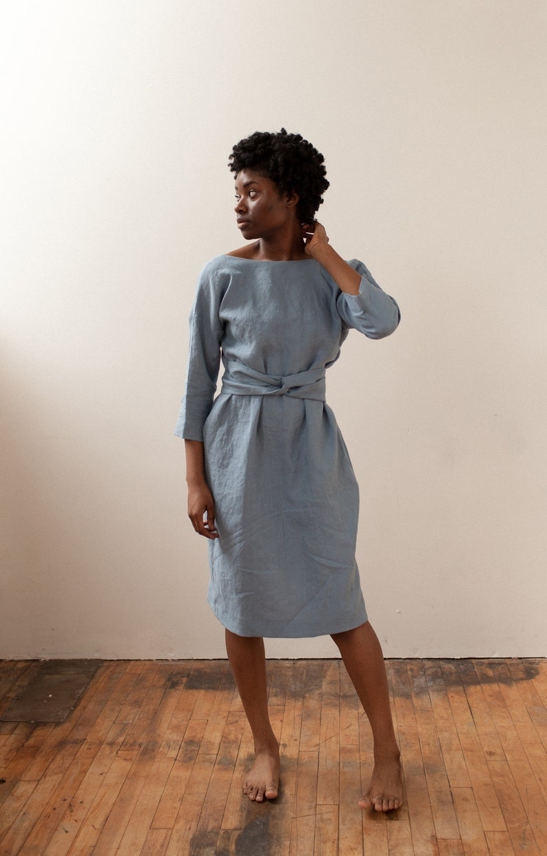 Stunning blue linen dress by Lauren Winter. A few favorite Finalists for the Etsy Awards are spotlighted in this story with inspiring photos on Hello Lovely.