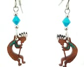KOKOPELLI EARRINGS are Laser Cut Cherry Wood Earrings on Laser Engraved Wood with Swarovski Beads -Gift for her with Southwest Designs