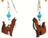 Coyote EARRINGS are Laser Cut Cherry Wood Earrings on Laser Engraved Wood with Turquoise Swarovski Beads -Gift for her