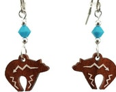 Zuni Bear EARRINGS are Laser Cut Cherry Wood Earrings on Laser Engraved Wood with Swarovski Beads -Gift for Her with Southwest Designs