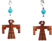 Thunderbird EARRINGS are Laser Cut Cherry Wood Earrings on Laser Engraved Wood with Turquoise Beads -Gift for Her with Southwest Designs