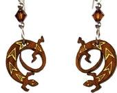 GECKO EARRINGS are Laser Cut Cherry Wood Earrings on Laser Engraved Wood with Swarovski Beads -Gift for her with Southwest Designs