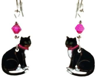 CAT EARRINGS Laser Cut Wood Earrings.  Laser engraved Wood Earrings have Hypoallergenic Earrings can be a gift for her