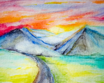 Mountain Sunset Watercolor Painting