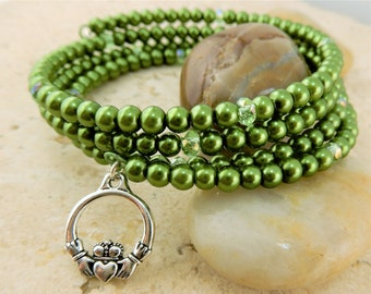 Silver Irish Claddagh Charm memory wire bracelet with green pearls and crystals Celtic