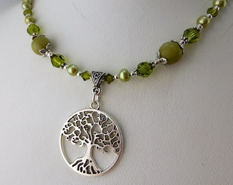 Celtic Silver Tree of Life necklace with Irish Connemara Marble beads, Swarovski crystals and freshwater pearls