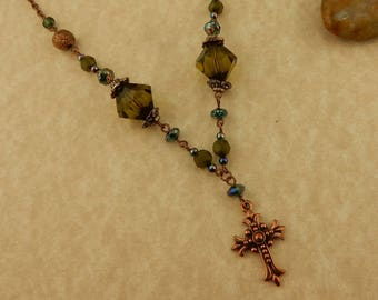 Copper Victorian Cross Necklace with Olive green beads