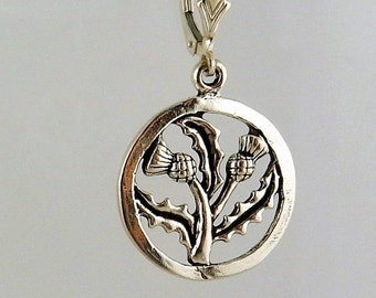 Sterling silver Flower of Scotland, Scottish Thistle lever back earrings