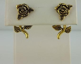 Vintage Gold 3D EARlusion Rose earrings