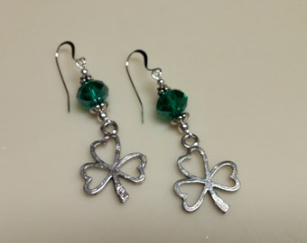 Irish Shamrock earrings w/ your choice of Emerald or Peridot Green crystals, St. Patrick's Day