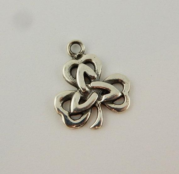 Celtic Thistle shamrock Real Sterling Silver .925 Charm Jewelry Pendant Irish