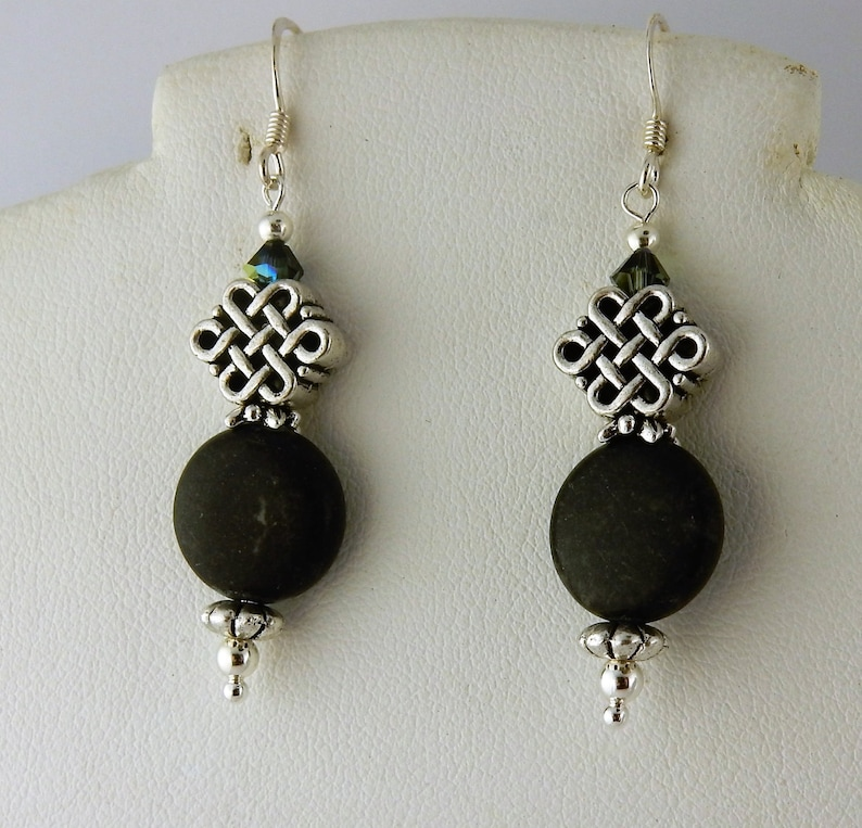 b57fc30ce Irish Kilkenny Black Marble Celtic Knot earrings with | Etsy