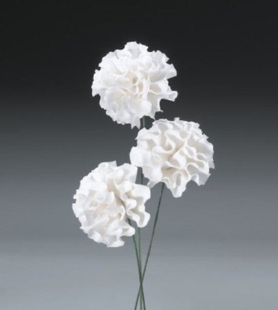 24ct white carnation gum paste flowers for weddings and cake etsy