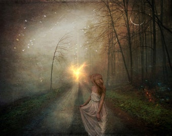 Running from Destiny PRINT - Surreal photo sunlight path landscape whimsical ethereal witch moon autumn spooky dramatic fairytale woman run