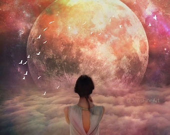 Chimera PRINT - full moon photo, super moon surreal universe fine art home decor libra astrology supermoon star birds woman Aquarius goddess