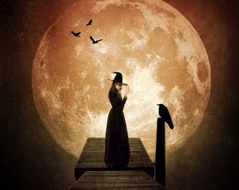 The Familiar PRINT - witchy photo witch goddess autumn full moon gothic art woman mood haunting birds raven crows halloween october samhain