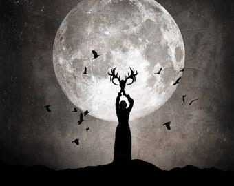 The Precipice PRINT - Aquarius Full Moon photo, surreal landscape fine art witch girl woman goddess horns horned antlers astrology dark goth
