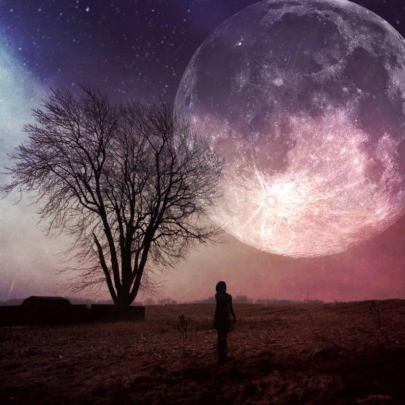 86521013271 Super Moon PRINT-photo pleine lune paysage surréaliste nu