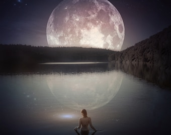 Moonstruck PRINT -  Pisces Full Moon photo water ocean lake deep wall art home woman supermoon astrology cancer mermaid dreamy witch siren