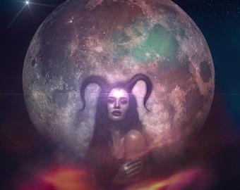 Primal Perception PRINT - full moon photo capricorn surreal landscape woman art third eye horns horned girl astrology intuitive supermoon