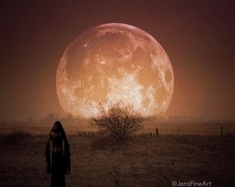 Samhain Moon PRINT - full moon photo goddess aries surreal gothic autumn astrology art woman mood haunting witch goth blood eclipse orange