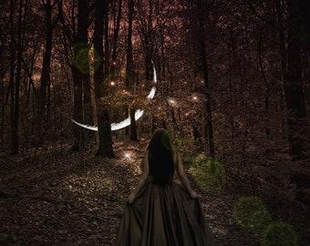 When She Calls PRINT New Moon Taurus photo woods forest surreal fairy tale virgo fall goddess woman autumn equinox magical mystical fairies