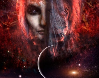 Lion's Gate PRINT - Leo New Moon photo lion spirit animal wall art home woman dark moon supermoon astrology Sirius goddess zodiac lunar fire