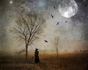 Season of the Witch PRINT - witchy photo goddess autumn full moon gothic art woman mood haunting birds raven crows halloween october samhain