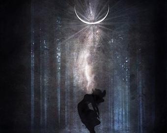 Cracked Open PRINT - new moon photo virgo taurus surreal home decor newmoon forest astrology moody universe woman heart magic chakra