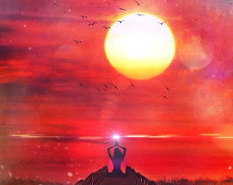 Summer Solstice PRINT - Sunset photo woman yoga red wall art home decor astrology litha sky pagan landscape cancer zodiac witch magical