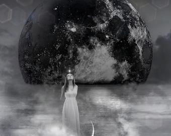 Libra Woman PRINT Goddess new moon photo surreal gothic mercury retrograde astrology dark art mood haunting witch stars air clouds full moon