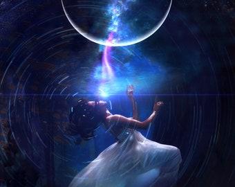 Submerged PRINT - new moon photo, surreal landscape ocean home decor water astrology woman blue dark gothic art pisces scorpio cancer zodiac
