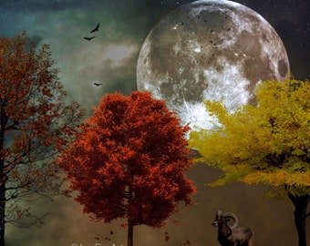 The Ram PRINT - full moon photo zodiac surreal gothic autumn decor astrology ram art goat mood haunting fall red fire sign harvest leaves