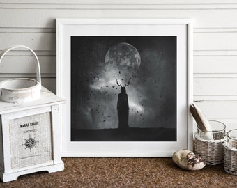 Goddess of the Moon PRINT - full super moon photo, surreal gothic home decor astrology black dark art woman mood haunting witch antlers goth