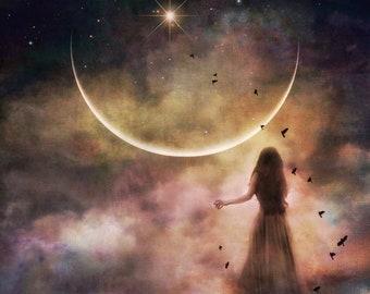 Veiled Dreams PRINT - new moon photo cancer surreal clouds woman fantasy newmoon home decor sky astrology cosmic dark moody fine art libra
