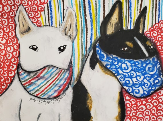BULL TERRIER in Face Masks Steampunk Art 8 x 10 Signed Giclee Print Collectible Artist Kimberly Helgeson Sams