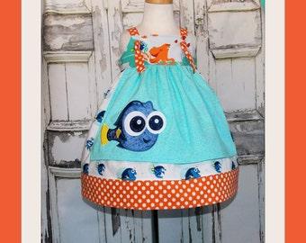 Finding Baby Dory Apron Knot Dress 2 3 4 5 6 7 8 10 12 14 Custom Birthday Party Disney Nemo Hank Octopus Bailey Beluga Destiny Whale Shark