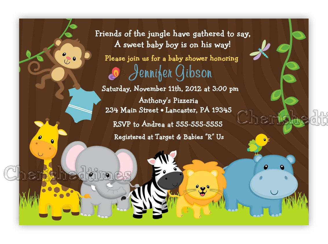 Jungle Friends Girl Or Boy Baby Shower Birthday Invitation
