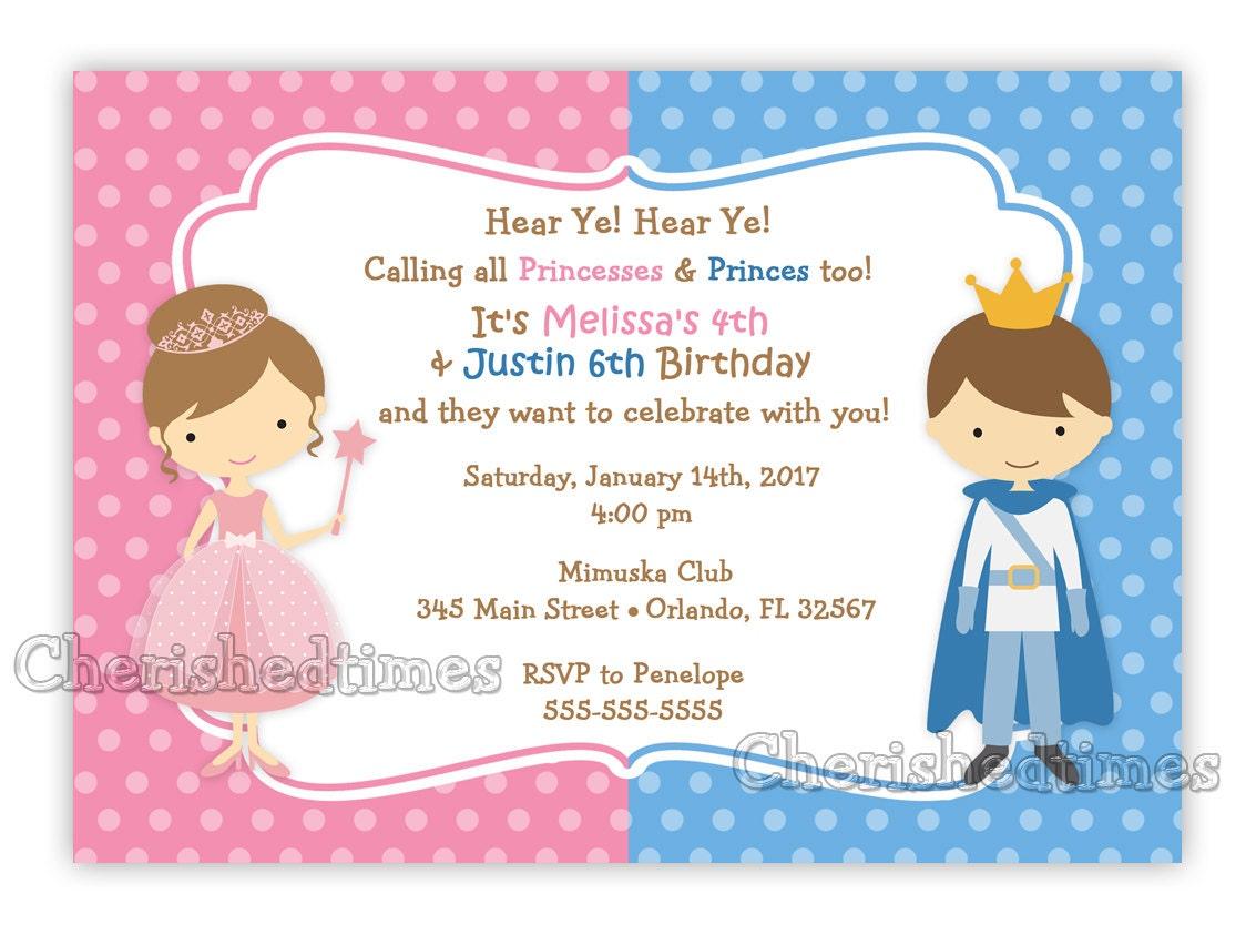 Princess And Prince Birthday Invitation Digital File | Etsy