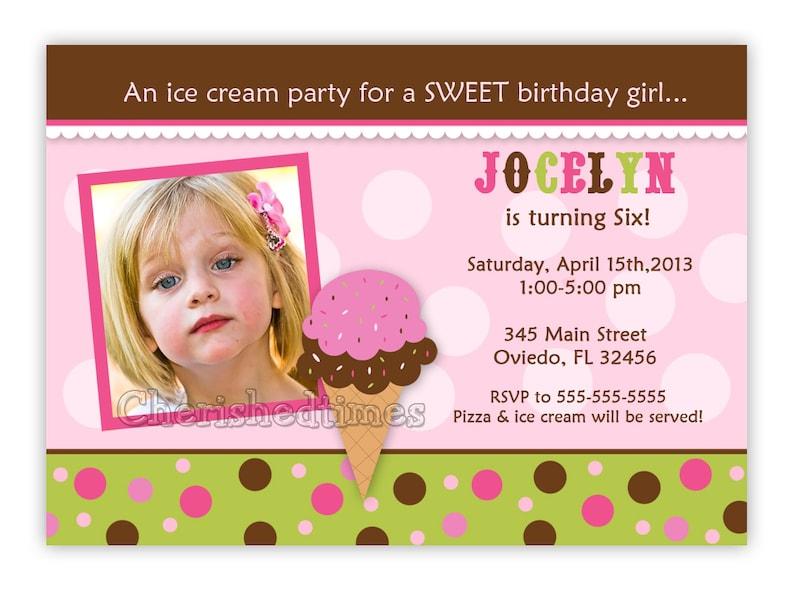 Ice Cream Birthday Invitation Digital File