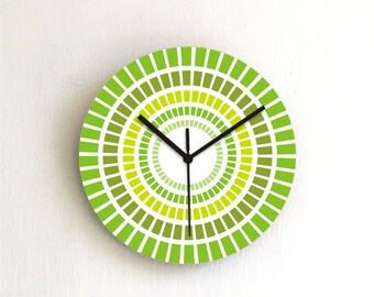 Green Mint Geometric Modern Kitchen Wall clock / Holiday gift idea
