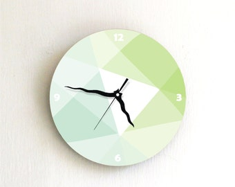 Lime Green Pastel geometric Modern wall clock
