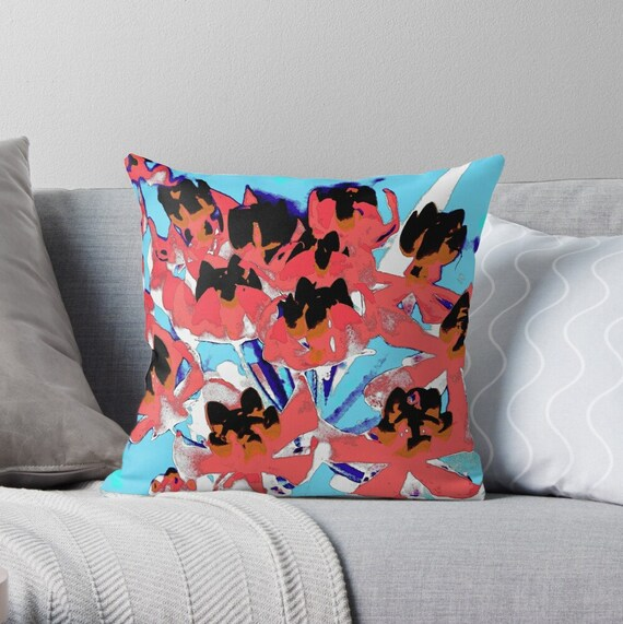 red sofa set and turquoise wall color for incredible.htm orange brown blue flowers pillowwater color throw etsy  orange brown blue flowers pillowwater