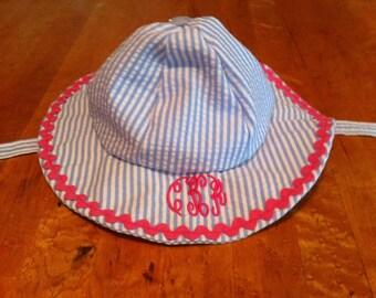 Matching Seersucker Beach Bucket Hat
