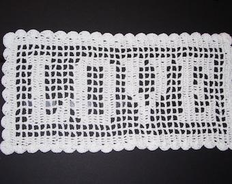 LOVE Filet Crochet Doily
