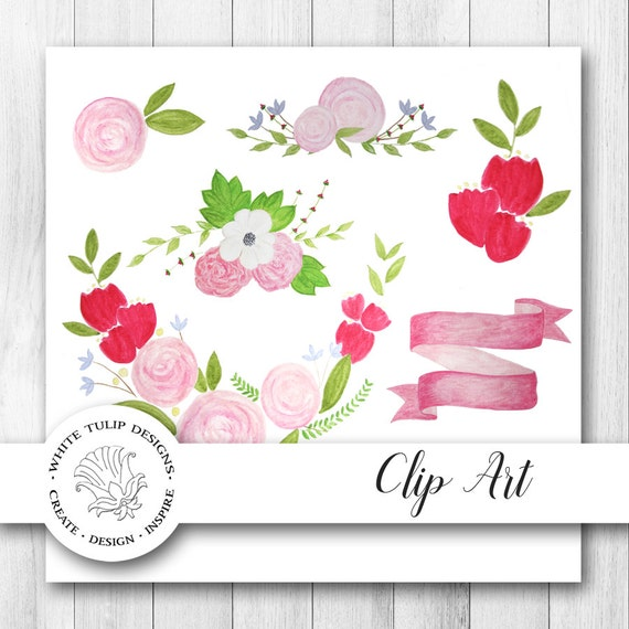 Watercolor clipart spring flowers floral collection etsy image 0 mightylinksfo