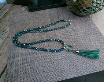Teal brilliance bead tassel necklace