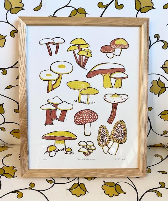 Elf On A Mushroom Linocut Print