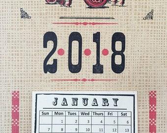 Letterpress Calendar // 2018 Calendar // Red Tractor
