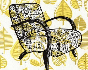 Mid-Century Modern Chair on a Gold Vintage Fabric Linocut Background
